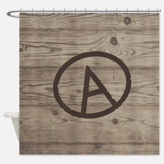 Letter A Monogram Branded Wood Shower Curtain
