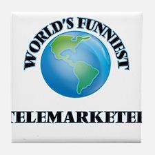 World's Funniest Telemarketer Tile Coaster