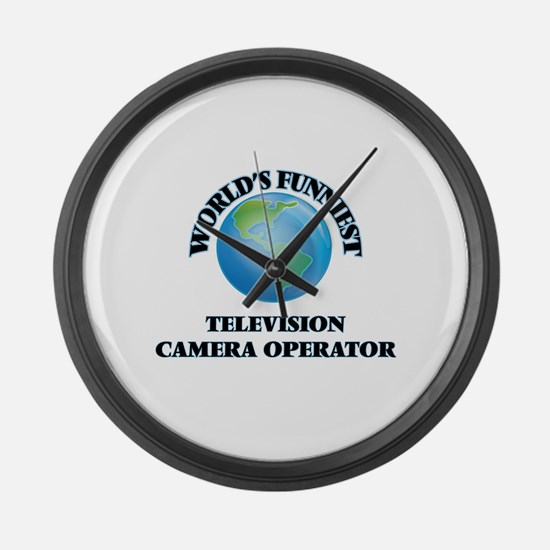 World's Funniest Television Camer Large Wall Clock