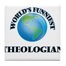 World's Funniest Theologian Tile Coaster