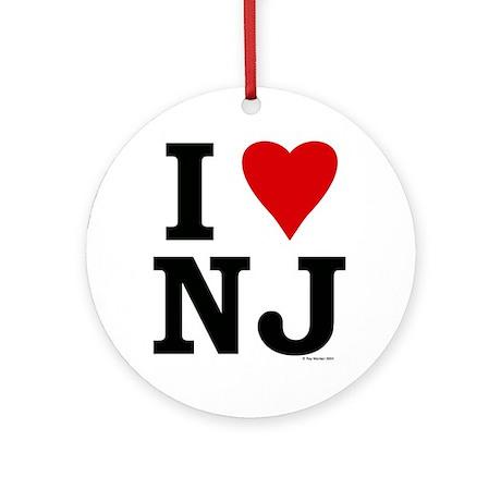 """I LOVE NJ"" Christmas Holiday Ornament (Round)"