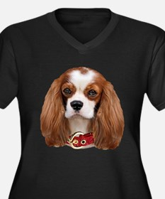 Cavalier Kin Women's Plus Size V-Neck Dark T-Shirt