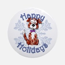 Oak's Border Collie Snowflake Ornament (Round)