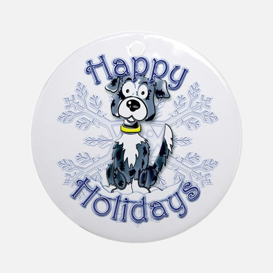 Callie's Border Collie Snowflake Ornament (Round)
