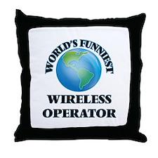 World's Funniest Wireless Operator Throw Pillow