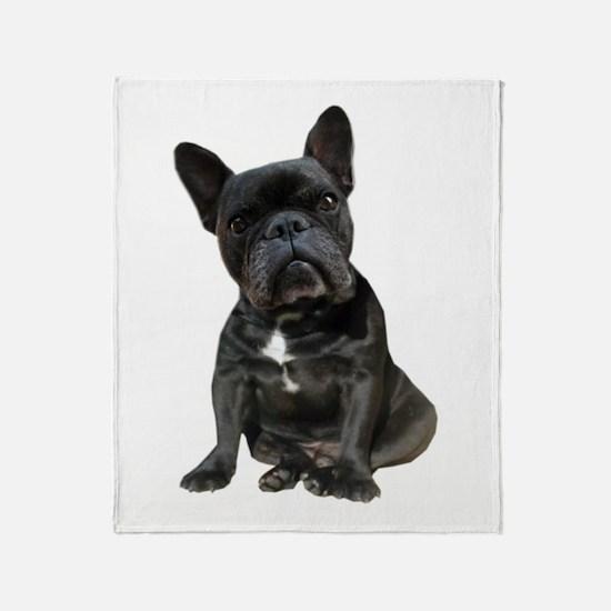 French Bulldog Puppy Portrait Throw Blanket