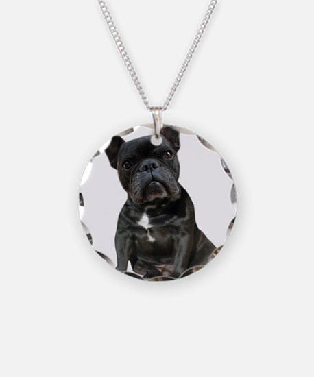 French Bulldog Puppy Portrai Necklace Circle Charm