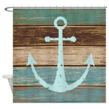 Nautical weathered wood anchor design shower curta by