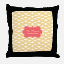 Coral Yellow Family Monogram Throw Pillow