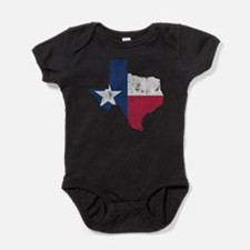 Vintage Texas State Outline Flag Baby Bodysuit