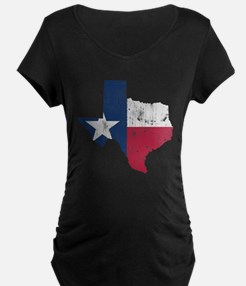 Vintage Texas State Outline Flag Maternity T-Shirt