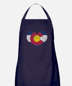 Vintage Colorado State Flag Heart Apron (dark)