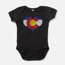 Vintage Colorado State Flag Heart Baby Bodysuit