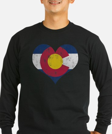 Vintage Colorado State Flag Heart Long Sleeve T-Sh