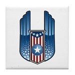 USA Patriotic Winged Crest Tile Coaster