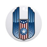 USA Patriotic Winged Crest Ornament (Round)
