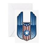 USA Patriotic Winged Crest Greeting Cards (Package
