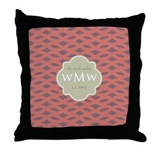 Monogram Wedding Initial Names and Da Throw Pillow