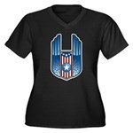 USA Patriotic Winged Crest Women's Plus Size V-Nec