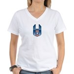 USA Patriotic Winged Crest Women's V-Neck T-Shirt