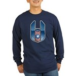 USA Patriotic Winged Crest Long Sleeve Dark T-Shir