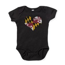 Vintage State of Maryland Flag Heart Baby Bodysuit