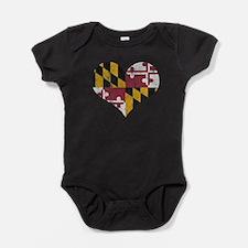 Vintage State of Maryland Flag Heart Baby Bodysuit