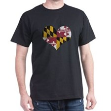 Vintage State of Maryland Flag Heart T-Shirt