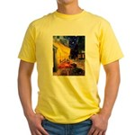 Cafe & Dachshund Yellow T-Shirt