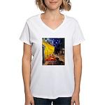 Cafe & Dachshund Women's V-Neck T-Shirt