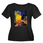 Cafe & Dachshund Women's Plus Size Scoop Neck Dark