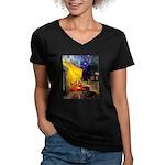 Cafe & Dachshund Women's V-Neck Dark T-Shirt