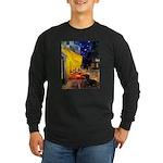Cafe & Dachshund Long Sleeve Dark T-Shirt