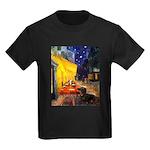 Cafe & Dachshund Kids Dark T-Shirt