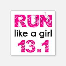 """Cute Run like a girl Square Sticker 3"""" x 3"""""""