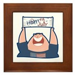 Happy 4th of July USA Framed Tile