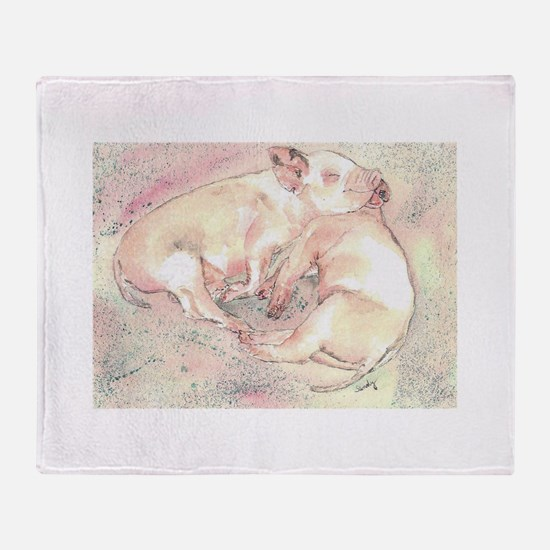 Piglets dreaming Throw Blanket