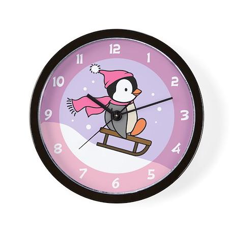 Penguin Pink Wall Clock