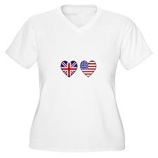 USA Union Jack Hearts on White Plus Size T-Shirt