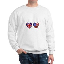 USA Union Jack Hearts on White Sweatshirt