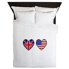 USA Union Jack Hearts on White Queen Duvet
