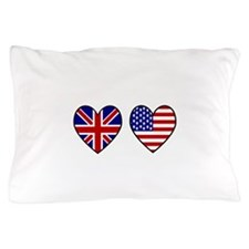USA Union Jack Hearts on White Pillow Case