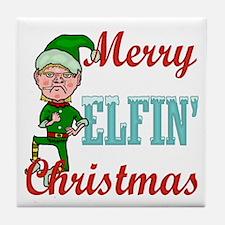 Funny Elfin Christmas Tile Coaster