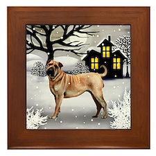 Shar Pei Dog Winter House Framed Tile