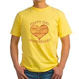 2nd anniversary Mens Yellow T-shirts