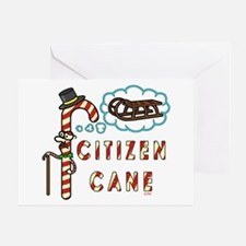 Funny Christmas Pun Citizen Cane Greeting Cards