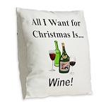 Christmas Wine Burlap Throw Pillow