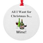 Christmas Wine Round Ornament