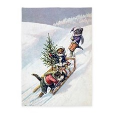 Kittens Play in The Snow 5'x7'Area Rug