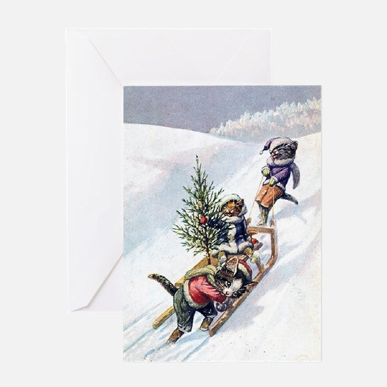 Kittens Play in The Snow Greeting Card